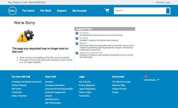 Dell 404 page
