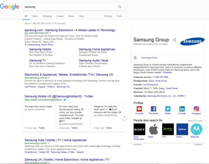 Samsung brand search SERP page