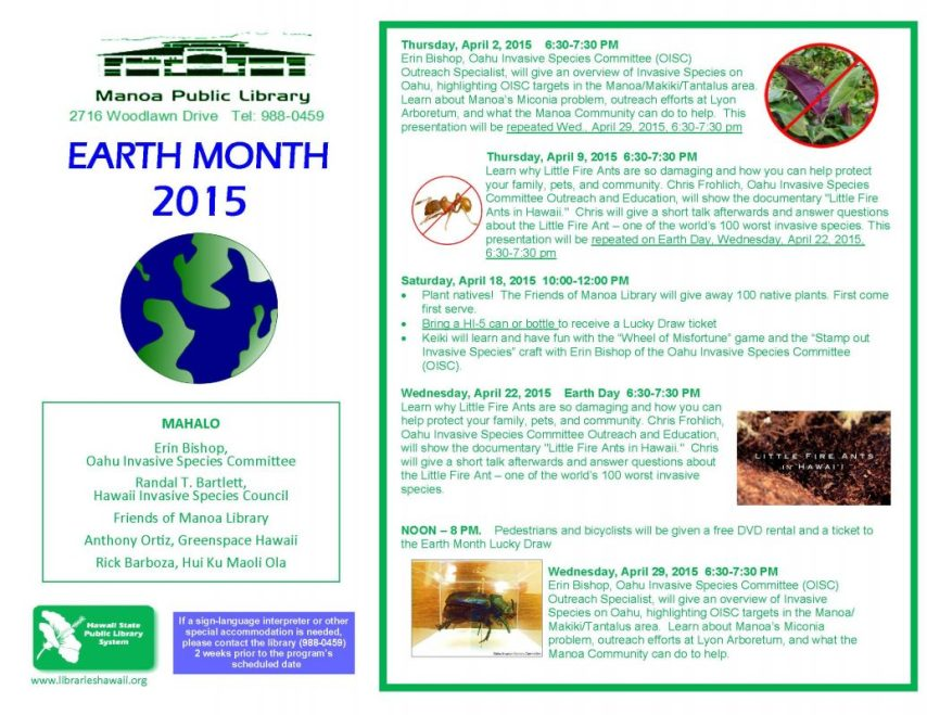Earth Month Flyer_Manoa Library_20150401