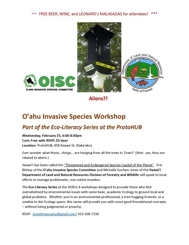 EcoLiteracy Oahu Invasive Species Workshop at ProtoHUB Feb 25 FLYER v.6