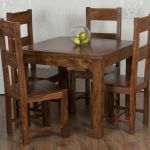 Valencia Square Dining Table 4 Chairs Dark Solid Sheesham Rosewood Rrp 609