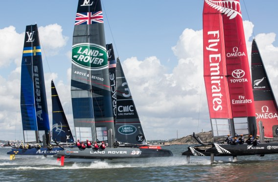 Image licensed to Lloyd Images. Free for editorial use. The Louis Vuitton Americas Cup World Series. Gothenburg. Sweden. Land Rover BAR Racing Team skippered by Sir Ben Ainslie (GBR) shown here in action on day 1 of racing this weekend Credit: Lloyd Images