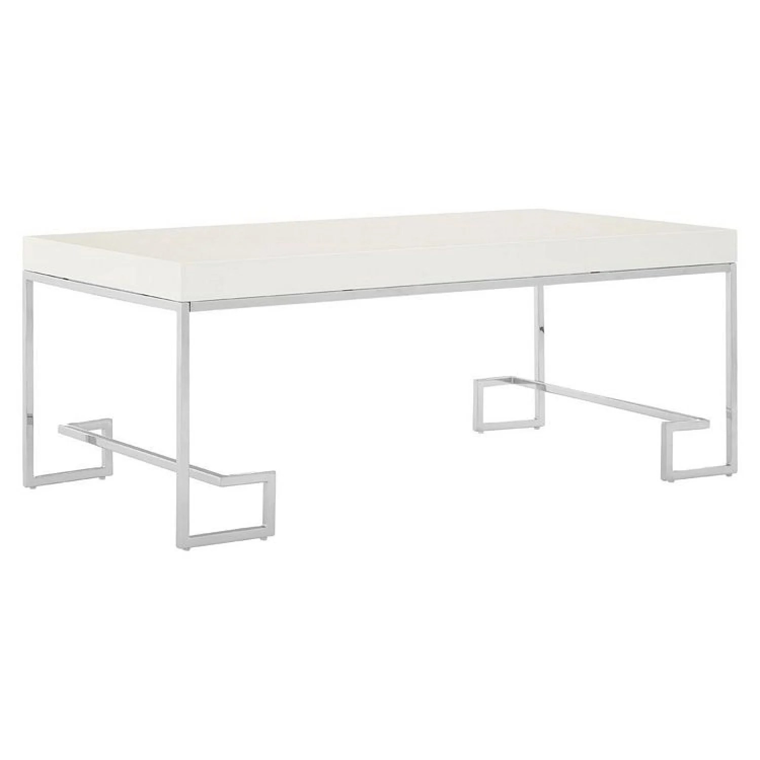 allure white high gloss and chrome metal coffee table