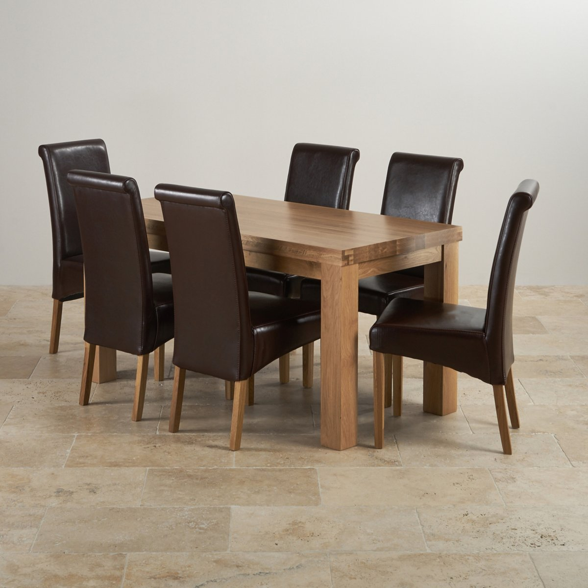 Contemporary Dining Set In Oak Table 6 Brown Leather Chairs