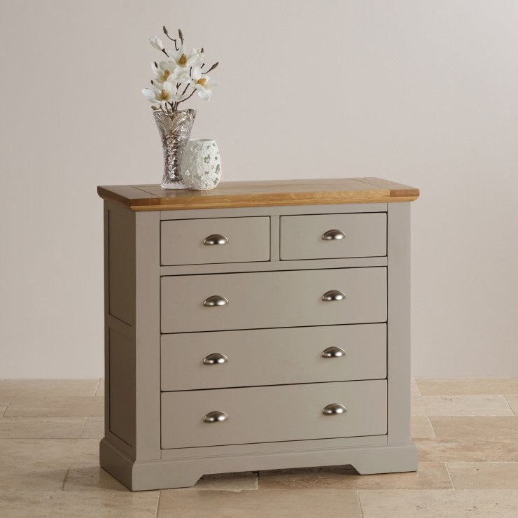 Natural Oak And Light Grey Painted 23 Chest Of Drawers