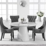 Ravello 130cm Round White Marble Dining Table With Freya Chairs