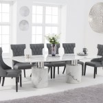Antonio 260cm White Marble Dining Table With Freya Chairs Antonio