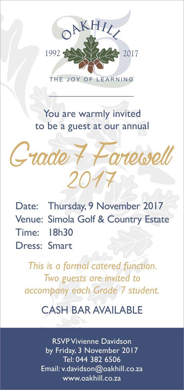 Oakhill Grade 7 Farewell 2017
