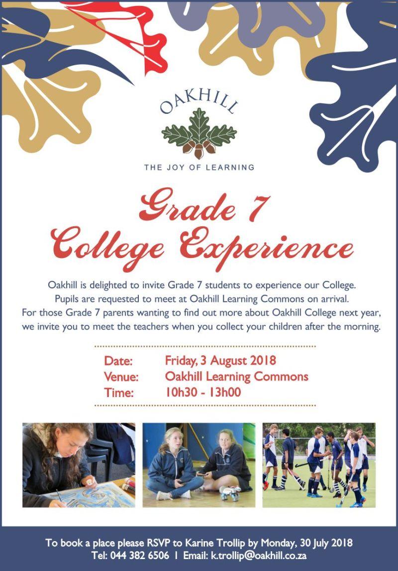 Grade 7 College Experience 2018 Invite