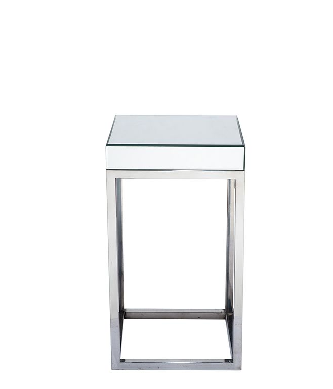 silver mirrored glass metal square table small