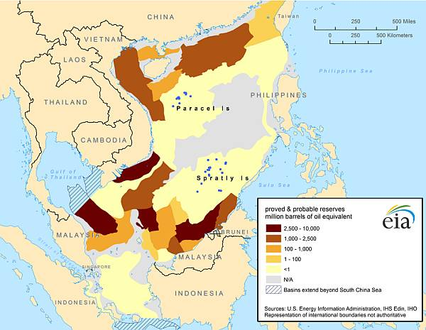 Map of South China Sea oil and natural gas proved and probable reserves for the offshore industry in SE Asia