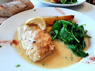 "Lunch Offerings at Donny G's"" White Fish with lemon butter, saut?ed spinach and potato (half order pictured)"