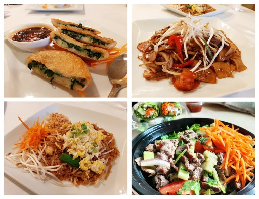 An assortment of Bodhi Thai menu items. Clockwise from upper left: Gui-Chai, Pad Khee Mao, Pad Thai and Spicy Beef Salad. Photo by Melissa Elsmo