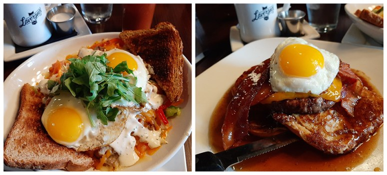 The breakfast bowl and brunch burger from Lavergne's Tavern.