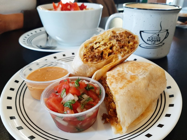 Burritos come in two sizes at Mission House Cafe. The small, shown here, contains two whole eggs.