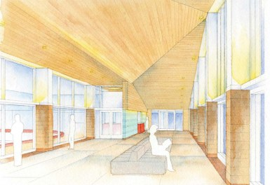 Renderings depicting the lobby area of a renovated Ridgeland Common