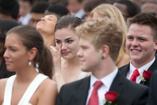 Patrician Linninger wiped away tears during a classmate's speech.