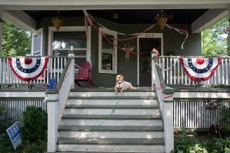 Harry finds the perfect spot to view the Fourth of July Parade. The Andries family had friends and family over to watch the parade from their yard.