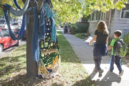 """Parkway art: """"Cocoon,"""" by artist Alexandra Noe, is part of the Terrain Biennial in the 700 block of South Highland Avenue. (DAVID PIERINI/Staff Photographer)"""