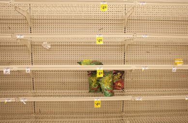 Last snack standing: Near empty shelves in the snack aisle at Dominick's on Lake Street in Oak Park. (DAVID PIERINI/Staff Photographer)