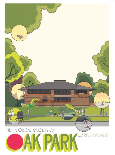 May 22: Time warp illustration of Frank Lloyd Wright's Heurtley House by Chris Ware. Poster courtesy of the Historical Society of Oak Park and River Forest