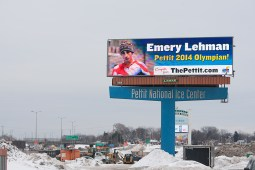 A first Olympics also brought a first billboard for Lehman, whose likeness flashed with other Pettit National Ice Center Olympians at the motorists on I-94 in Milwaukee. (David Pierini/staff photographer)