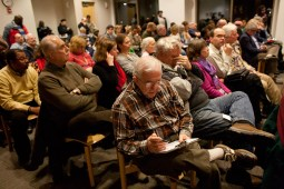 Voters from all over the 1st District attended the forum in the Oak Park Public Library's Veteran's Room. (David Pierini/staff photographer)