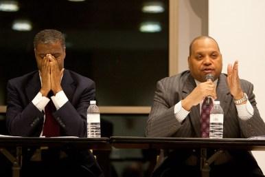 Carothers, right, addresses the crowd. (David Pierini/staff photographer)