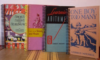 Journals and sketchbooks created with recycled books.