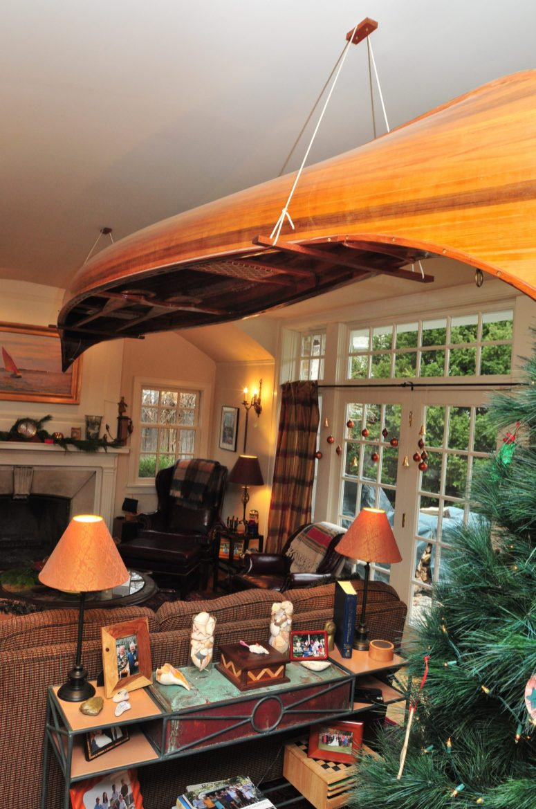 No Christmas would be complete without stockings carefully hung and, of course, no living room would be complete without the Christmas canoe. (Photos provided by Diana Rasche Photography)