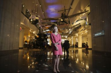 Bowyer in the hall of transportation, which includes a Boeing 727 (right).9CHANDLER WEST/Staff Photographer)