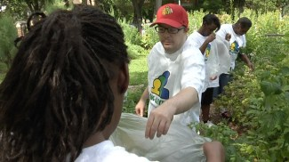 Volunteers in the garden at Cheney Mansion in Oak Park. | Photo provided