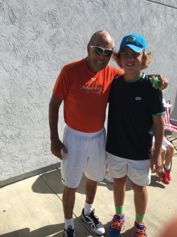 Legendary professional tennis coach Nick Bollettieri with promising junior player Jakub Ostajewski, who's from Elmwood Park. (Courtesy Luka Bagos)