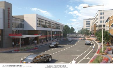 The Oak Park Village Board of Trustees approved a plan to spend 61,000 to study engineering that would realign the corridor to make more space for commercial development. This view looks east on Madison Street from Oak Park Avenue. | Courtesy OPEDC