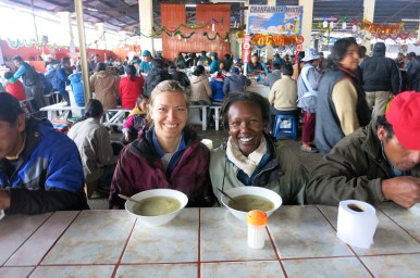 Claire and Rosemary eating at Mercado de San Pedro, Cusco, Peru/Photo: Authentic Food Quest