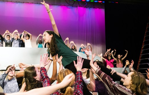 Katelyn Montgomery, a freshman at OPRF High School and experiences dancer for 6 years, is lifted by fellow performances during the Mary Poppins rehearsal day, Friday, Feb. 3, 2017. | Sebastian Hidalgo/Contributor