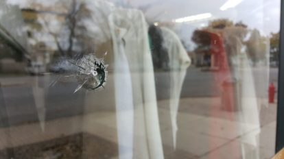 P&J Cleaners was hit by a BB gun. Owner Charlie Kim said he was not aware that his window had been struck. | TIMOTHY INKLEBARGER/Staff