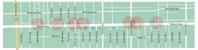 Shots fired: More than a dozen reported BB gun shootings have occurred in Oak Park and Forest Park since June, the majority along Madison Street. The map indicates blocks (shown as large circles) and specific locations (shown as dots) where the shootings have taken place in Oak Park. | WJ Graphics