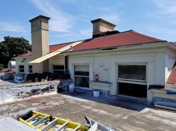 The Park District of Oak Park is renovating the roof of the structure, replacing asphalt shingles with clay tile. | TIMOTHY INKLEBARGER/Contributor