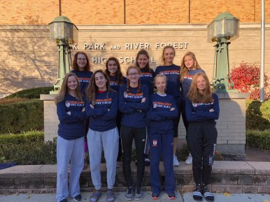 OPRF cross country: (top row, left to right): Jana Casey, Maddy Wilkie, Hannah Thompson, Violet Harper, Audrey Lewis; (bottom row, l to r): Parker Hulen, Nora Wollen, Maggie Rose Baron, Samantha Duwe, Josephine Welin (Submitted photo)
