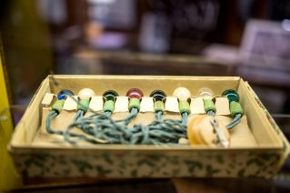 Vintage Christmas lights still in their original box are displayed on Nov. 14, at the Oak Park River Forest Museum on Lake Street in Oak Park. | Alexa Rogals/Staff Photographer