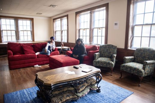 It took four years to get the interior of the old convent ready for occupancy again. The nuns' cells provide residents with private rooms, but they're able to share communal spaces like the TV room (above), meeting rooms and a kitchen. | Alexa Rogals/Staff Photographer