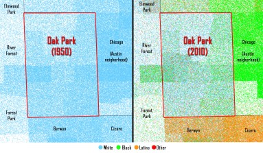 Comparison of the racial background of residents in Oak Park and surrounding communities, as reported by the U.S. Census Bureau in 1950 and 2010. (Logan Jaffe and Chris Hagan/WBEZ)