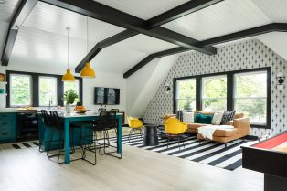 Robin Flaherty and Jess Milburn of North and Madison created a bright, airy coach house, complete with kitchen and bathroom space above this Oak Park garage. | Photo by Stoffer Photography