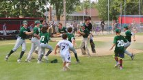 The River Forest 12U baseball team celebrates its 7-6 win over Tri-Cities in the state championship game. (Courtesy Dennis Jarnecke)