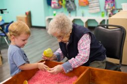 FAIR EXCHANGE: Eamon Brennan and Henrietta Stephen, a resident at Oak Park Arms, play at Kindness Creators Intergenerational Program on opening day. | Courtesy Kindness Creators
