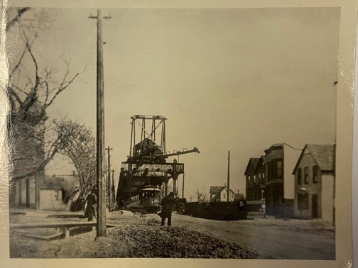 The CTA Green Line being built circa 1900 at Laramie Avenue and Lake Street, the first Pieritz Bros. location.  Photo provided by Deborah Pieritz