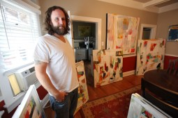 When he's in house painter mode, Hedges says the fun work is helping people choose colors and designs for their homes. He also creates murals for clients.