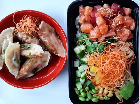 Gyoza (left) and the vibrant salmon and tuna poke bowl from Inari Sushi.