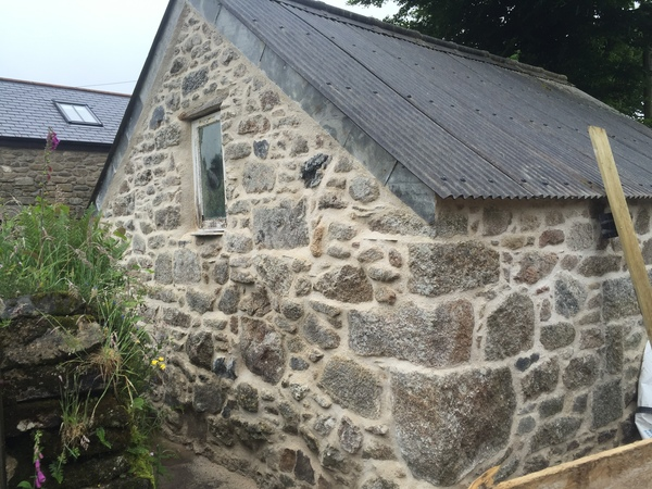 Lime pointing a grade 2 building in Blisland Cornwall